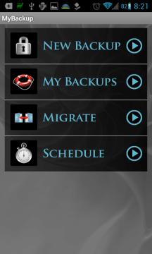 MyBackup: úvodní obrazovka