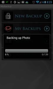 MyBackup: probíhá zálohování