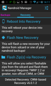 Nandroid Manager: možnosti recovery
