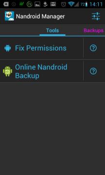 Nandroid Manager: nástroje