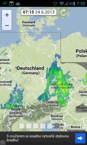 iRadar zobrazuje srážky