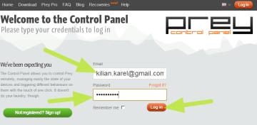 Přihlášení k webovému rozhraní