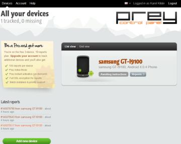 Úvodní obrazovka webového rozhraní