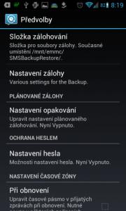 SMS Backup & Restore: možnosti nastavení