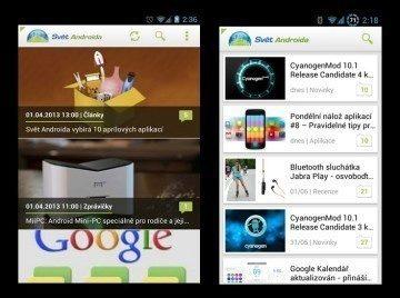 Starý vs nový vzhled aplikace Svět Androida
