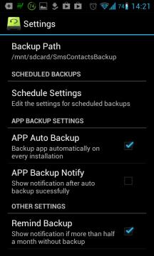 Super Backup: možnosti nastavení