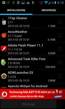 Super Backup : SMS & Contacts: zálohování aplikací