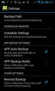 Super Backup : SMS & Contacts: možnosti nastavení