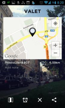 Aplikace po zaparkování