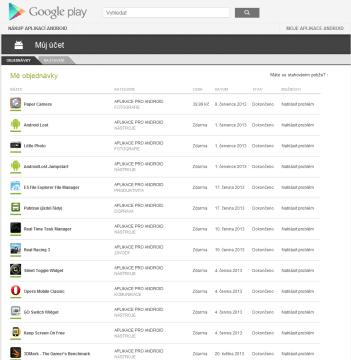 Seznam aplikací, které jsme z tohoto účtu nainstalovali