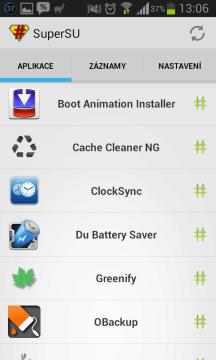 Spuštěná aplikace SuperSU