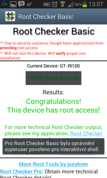 Root Checker hlásí úspěšný root.