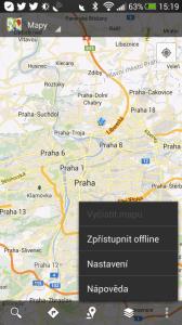 """Ve """"starých"""" mapách patřila funkce """"Zpřístupnit offline"""" mezi oblíbené"""