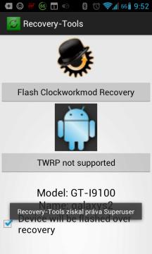 Výběr custom recovery