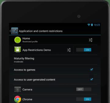 Aplikace může nabídnout sadu omezení, aby majitel mohl spravovat nastavení pro jednotlivé profily