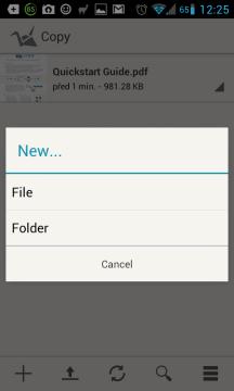 Copy: vytvoření souboru nebo složky