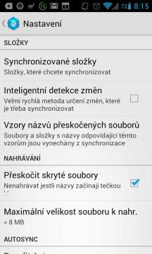 Dropsync: možnosti nastavení