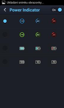 Možnost výběru ikony baterie