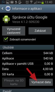Stiskněte tlačítko Vymazat data