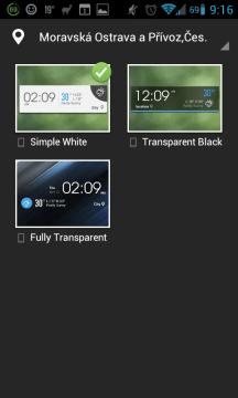 Možnosti widgetu 4x1