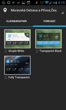Možnosti widgetu 4x2