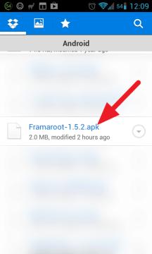 APK soubor jsme přenesli přes Dropbox