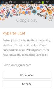 Google Play Music: přihlášení
