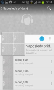 Google Play Music: naposledy přidané skladby