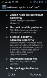 Aktivace aplikace jako správce zařízení