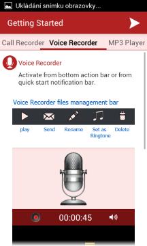 Aplikace funguje také jako diktafon