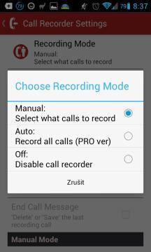 Nastavení záznamu hovorů - režim nahrávání
