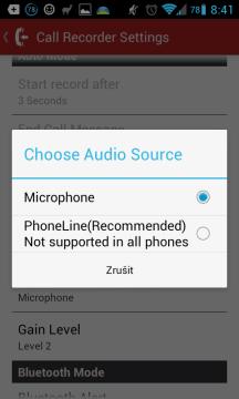 Nastavení záznamu hovorů - zdroj zvuku