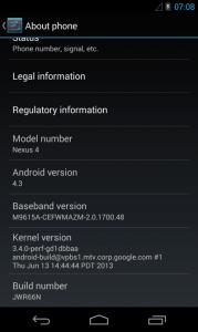 Nexus 4 s Androidem 4.3.3