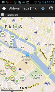 c:geo: aktivní mapa