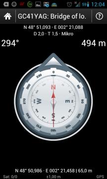 c:geo: navigace kompasem
