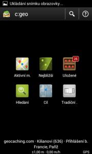 c:geo: hlavní obrazovka