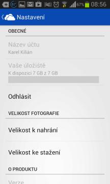 SkyDrive: možnosti nastavení