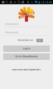 SpiderOak: přihlášení