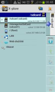 X-plore File Manager: úvodní obrazovka