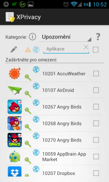 Aplikace s přístupem k upozorněním