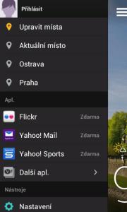 Yahoo! Počasí: hlavní nabídka