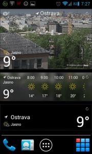Yahoo! Počasí: widgety na domovské obrazovce