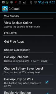 Možnosti nastavení G Cloud Backup