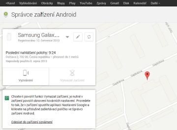 jak najít telefon - webové rozhraní Správce zařízení Android