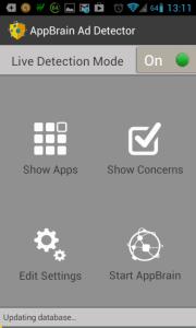AppBrain Ad Detector: hlavní obrazovka