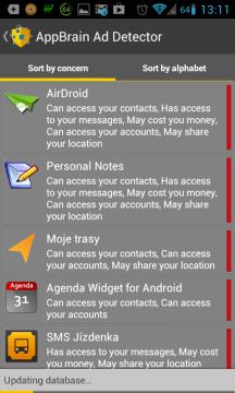 AppBrain Ad Detector: seznam aplikací