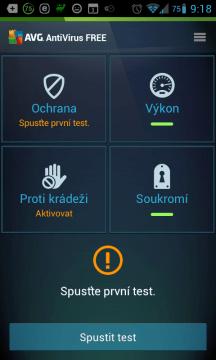 Hlavní nabídka aplikace