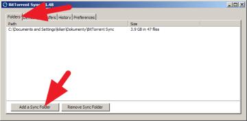 Na záložce Folders stiskněte Add a Sync Folder