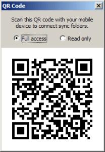 Zobrazí se QR kód pro naskenování fotoaparátem
