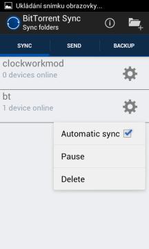 Seznam synchronizovaných složek